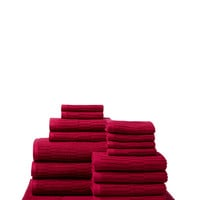 Chortex of England Oxford Ribbed Towel Set (16 PC) - Red