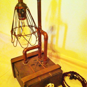 Vintage Style Cigar Box Lamp - Industrial - Table Lamp - Desk Lamp