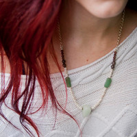 Pearl, Amazonite, and Green Aventurine Necklace with Jasper and Jade