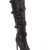 Black Strappy Sexy High Heel Boots Faux Leather