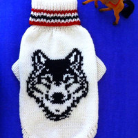 Knit Pattern Sweater For Big Dog. Indian Totem. Pattern Wolf. Wolf Portrait Sweater. Big Dog Clothes. Wolf Picture Sweater For Dog.Size 3XL