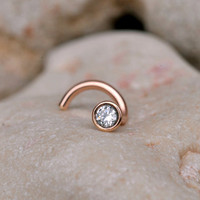 NOSE RING CZ stone 2mm in 3mm 14K rose by BensJewelryCreations