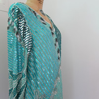 80s Does 20s Heavily Beaded Pure Silk Aqua Dress Silver Sequins Beads Vintage Anjumun Party Gown Made in India M