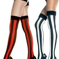 Opaque Vertical Striped Thigh Highs Black/White One Size Fits Most