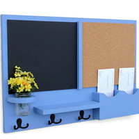 Mail Organizer -  Message Center - Cork Board - Chalk Board -  Coat Rack - Mason Jar - Coat Hooks
