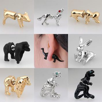 Gold, Silver, and Black 3D Trendy Animal Stud Earrings