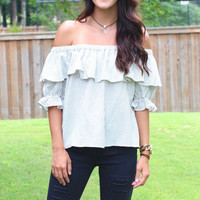 Off Shoulder Vertical Stripes + Ruffled Top {Cream+Black}