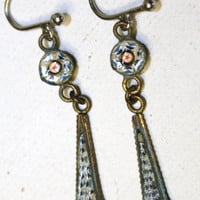 Antique Micro Mosaic OLD Dangle Earrings Victorian by patwatty