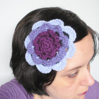 Crochet Irish Rose Fascinator Hair Clip Barrette in Purple Trio, ready to ship. $8.00