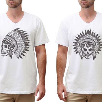 Men Skull wear indian headdress Graphic Printed Cotton T-shirt MTS_02