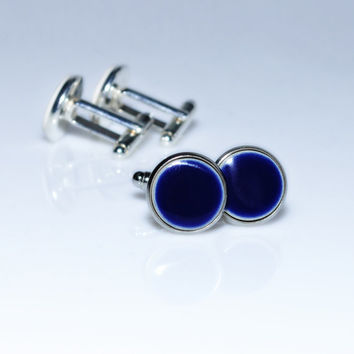 Navy blue cufflinks Navy blue ceramic cufflinks 15mm big Navy blue cufflinks round silver plated Blue cuff Elegant everyday his and hers
