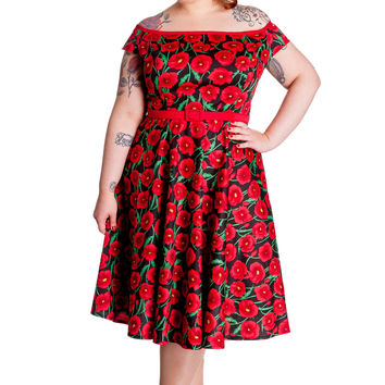 Hell Bunny 50's Cordelia Red Poppy Floral Gorgeous Red Carpet Party Dress