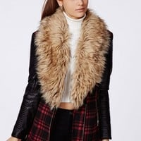 Missguided - Orla Faux Fur Leather Biker Sleeve Coat Red Check