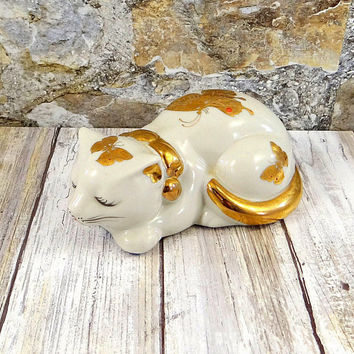Vintage Takahashi Sleeping Cat, Butterflies, Gold Gilt, Made in Japan