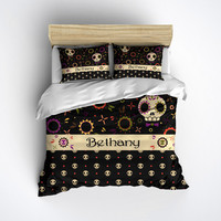 Fleece Mixed Media Sugar Skull Bedding, Personalized with your name - Sugar Skull Bed Linen, Sugar Skull Bedding Set