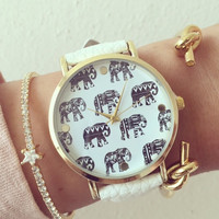 Leather Elephant watch, bracelet, Elephants, jewellery,