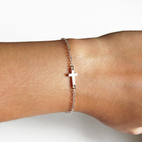 Silver Sideways Cross Bracelet, Tiny Cross Bracelet, Minimalist Bracelet, Everyday Jewelry