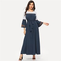 Abaya Navy Floral Flare Sleeve Lace Applique Belted Maxi Dress Women Color-block Ruffle Straight Dresses