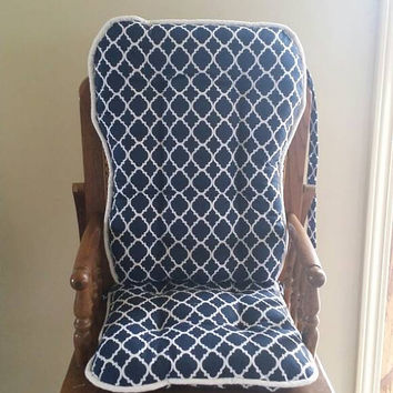 Navy Quatrefoil High Chair Cushions, Highchair Pads, Wooden High Chair Cover, Rocking Chair Cushions,