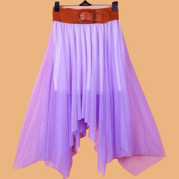 Chiffon Irregular Bohemian Flare Pleated Beach Middle Belt Skirt