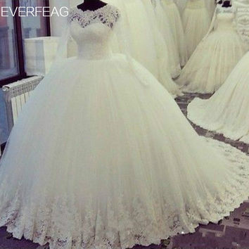 EVERFEAG Long Sleeve Plus Size Bohemian Arab Princess Wedding Dress 2017 Lace Appliques Ball Gown Puffy Bridal Dress