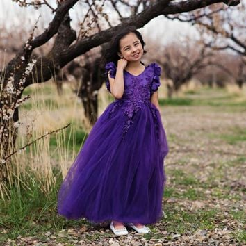 Ariana Ultra Violet Purple Petal Sleeve Satin & Lace Dress Gown