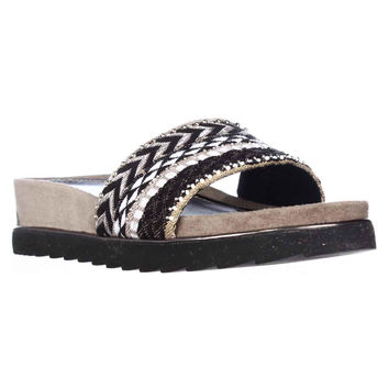 Donald J Pliner Cava Platform Slide Sandals - Black White