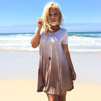Dip Dye Ombré Jersey Dress In Mocha