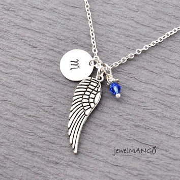 Initial Necklace Silver Wing Charm with birthstone Personalized Initial Necklace, monogram, swarovski birthstone, hand stamped initial