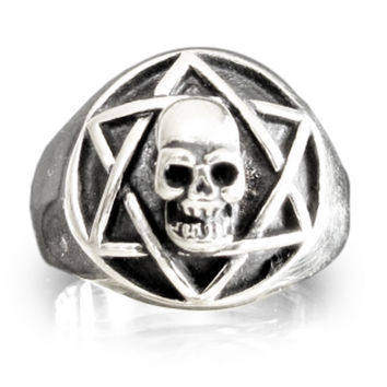 Sterling Silver STAR of DAVID SKULL Ring Hexagram Skull Occult Skull Symbol Ring