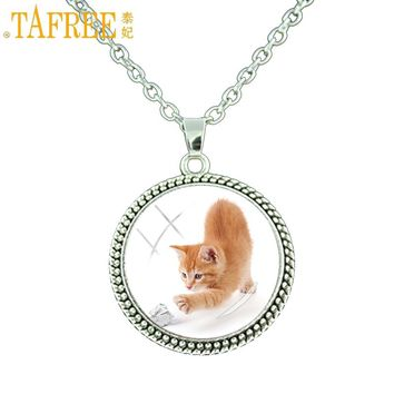 TAFREE cute women kids necklace kitten cat lovely pendant statement choker jewelry animal art chain necklace for children E790