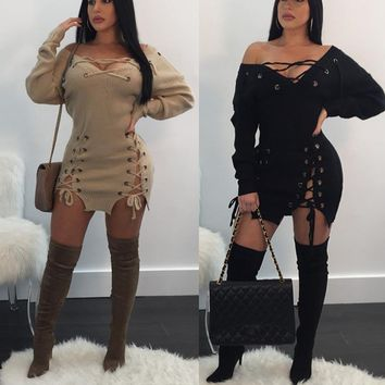 Almeda lace up knitted dress