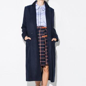 Trench Duster Coat Navy Blue