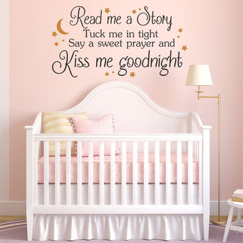 Read Me A Story, Kiss Me Goodnight Quote Children's Nursery Vinyl Wall Decal Sticker
