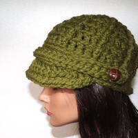 Hand Crochet Hat- Chunky Newsboy Beanie Cap Button Tab-Olive Green Sage Fashion Accessories