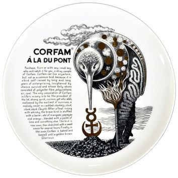 Rare Piero Fornasetti Recipe Plate, Corfam a la Du Pont Made for Fleming Joffe