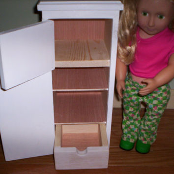 Kitchen Refrigerator  Handcrafted for American Girl 18 inch doll white with blue trim