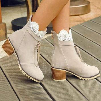 New Beige Round Toe Chunky Lace Patchwork Fashion Ankle Boots