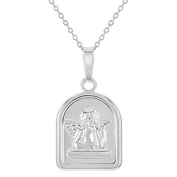 """925 Sterling Silver Protection Medal Guardian Angel Pendant for Children 16"""""""