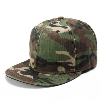 Men Women Camo Camouflage Flat Baseball Cap Hip Hop Hat