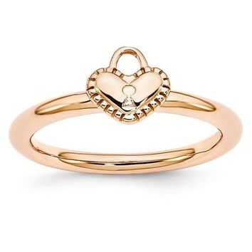 Rose Gold Sterling Silver Stackable Expressions Heart Padlock Ring