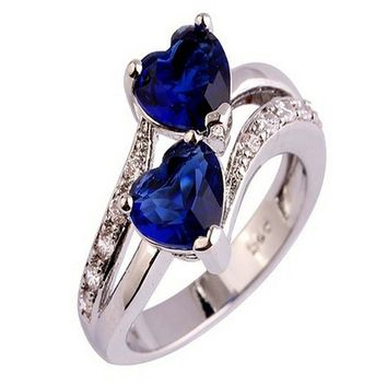 Fashion Lover Jewelry Heart Cut Sapphire & Ruby Gemstone Silver Ring