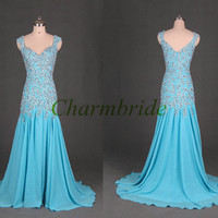 long chiffon evening dresses with rhinestones unique elegant v-neck prom dress cheap sweep train gowns for party
