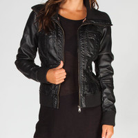 Full Tilt Knit Collar Womens Bomber Jacket Black  In Sizes