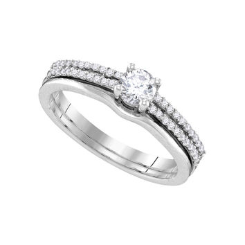14k White Gold Womens Round Diamond Slender Double Row Bridal Wedding Engagement Ring Band Set 1/2 Cttw 109899