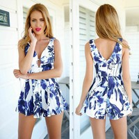 Hot Sale Stylish Sexy Print Sleeveless Beach Pants Romper [6315478529]