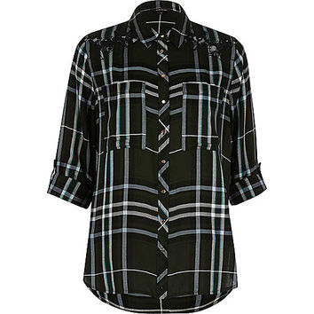 Khaki check relaxed shirt