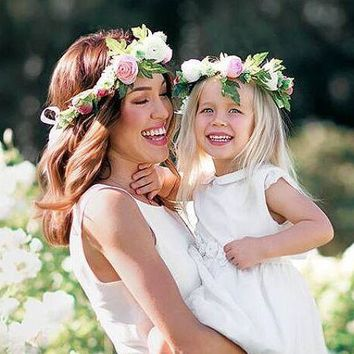 2017Mom and me Flower Headband  Summer Style Girls Headband Flower Mommy and child Matching Garland Hair Accessories