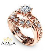 Natural Diamond Wedding Ring Set in 14K Rose Gold Unique Diamond Engagement Rings Rose Gold Wedding Rings