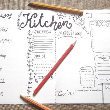 kitchen bujo journal printable bujo menu chef food planner organize life home journaling agenda organizer notebook download lasoffittadiste